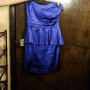 Cobalt Blue Strapless Satin Peplum Dress